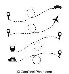 itinéraires, voyage