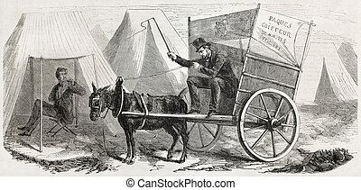 Itinerant barber - Old illustration of intinerant officers...