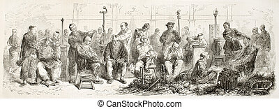 Itinerant barbers - Chinese intinerant barbers old...