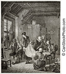 Itinerant seller - Old illustration of itinerant textiles...