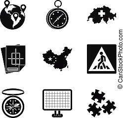 Itinerary icons set, simple style - Itinerary icons set....