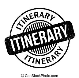 Itinerary rubber stamp. Grunge design with dust scratches....