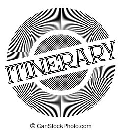 Itinerary typographic stamp. Typographic sign, badge or logo...