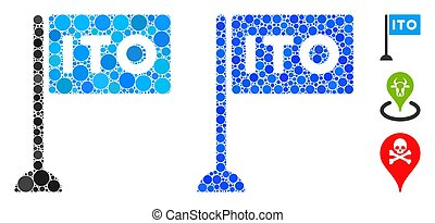 ITO rectange flag composition of small circles in variable sizes and shades, based on ITO rectange flag icon. Vector small circles are combined into blue collage.