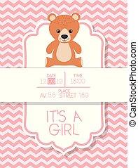 its a boy baby shower card with bear teddy