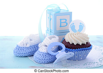 Its a Boy Blue Baby Shower Cupcakes with baby feet toppers ...