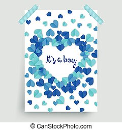 It's a boy, blue baby shower poster decoration