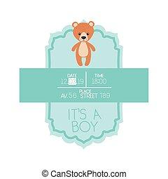 its a boy card with cute bear teddy