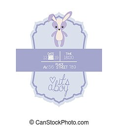 its a boy card with cute rabbit