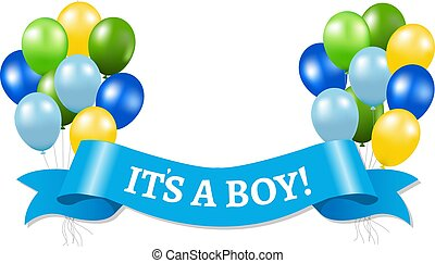 Its A Boy Pastel Frame With Balloons And Dots For Baby Shower
