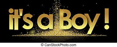 It's A Boy in golden stars background