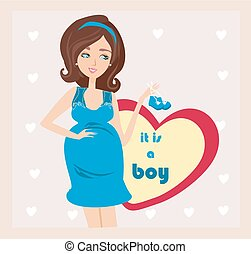 It's A boy! - pregnant woman card
