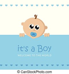 its a boy welcome greeting card for childbirth with baby face vector illustration EPS10