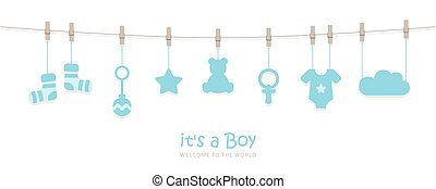 its a boy welcome greeting card for childbirth with hanging baby utensils