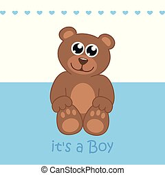 its a boy welcome greeting card for childbirth with teddy bear