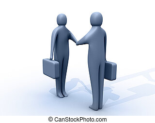 It's a deal! - 3d people holding briefcases shaking hands.