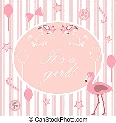It's a girl announcement. Baby Shower Collection.