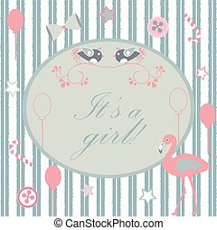 It's a girl announcement. Baby Shower Collection. Vector Illustration.