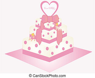 It's a Girl Cake Illustration