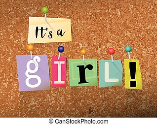 It's a Girl Concept Pinned Letters Illustration