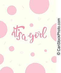 It's a girl invitation template.  Vector illustration.
