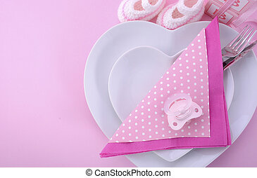 Its a Girl pink theme baby shower table setting