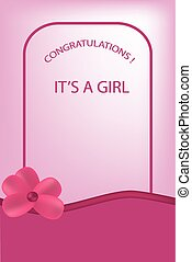 it's a girl rose greeting card