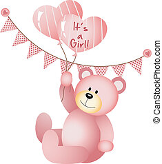 It's a Girl Teddy Bear - Scalable vectorial image...
