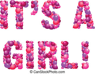 It's a girl - Vector birth announcement in balloons - girl ...