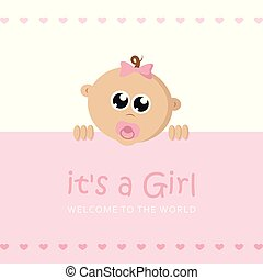 its a girl welcome greeting card for childbirth with baby face vector illustration EPS10