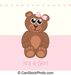its a girl welcome greeting card for childbirth with teddy bear