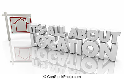 Its All About Location Home House for Sale Sign 3d Illustration