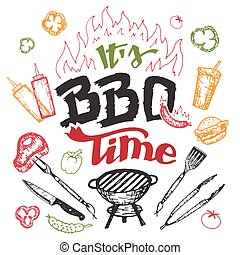 It's barbecue time hand drawn elements set