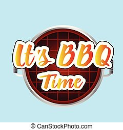 It's BBQ Time Grill Background Vector Image