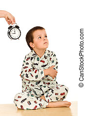 Kid not happy about sleeping - bedtime concept, isolated