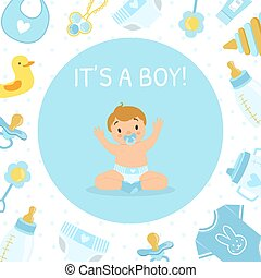 Its Boy, Baby Shower Invitation Banner Template, Light Blue Card with Cute Little Boy and Newborn Baby Symbols Seamless Pattern Vector Illustration