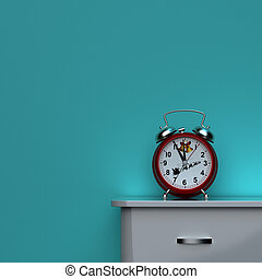 It's christmas time. Alarm clock standing on a bedside table, light green background. 3D rendering
