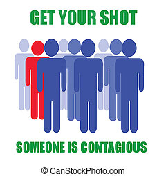 it's contagious - blue and red people inoculation reminder...