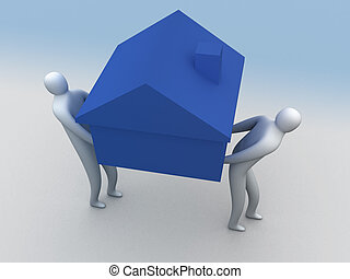 It's heavy - 3d people carring a house.