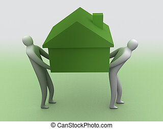 It's heavy - 3d people carrying a house.