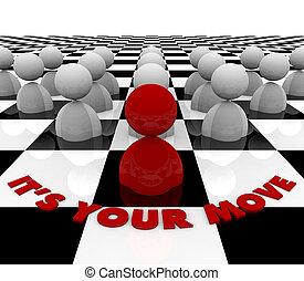 it\'s, jouw, verhuizen, -, schaakspel bord