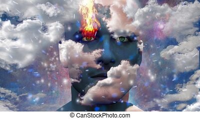 Its made of Stars. Mans head with stars, clouds and fire