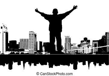 it\\\'s, mi, ciudad, vector, ilustración