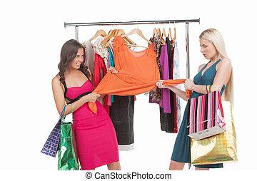 it?s, mine!, twee, boos, vrouwen, het proberen, om te arriveren, een, jurkje, in, kleinhandelswinkel