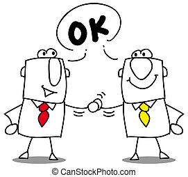 it's ok - Two businessmen shaking hands