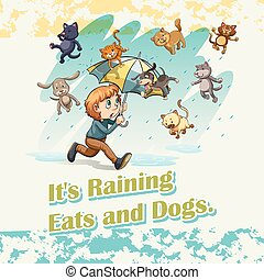 It's raining cats and dogs illustration