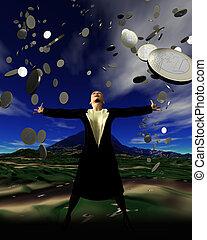 It\\\'s raining money - Pennies from heaven - a woman is...