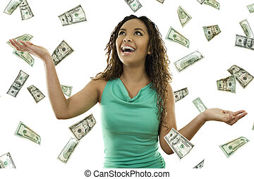 Its raining money - Stock image of woman standing with open...