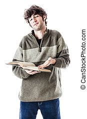 It's so easy! - an handsome student with some books isolated...