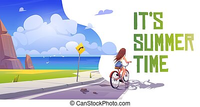 It's summer time cartoon banner. Girl on bicycle